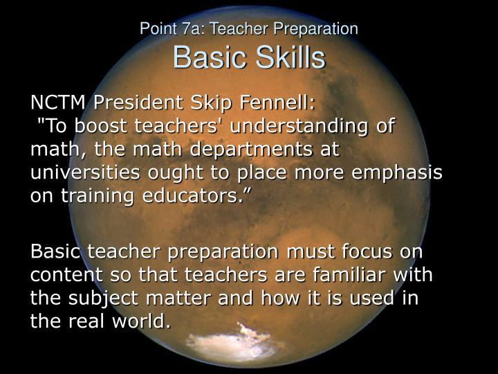 Point 7a: Teacher Preparation