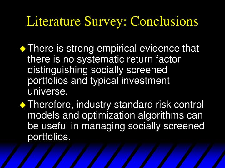 Literature Survey: Conclusions