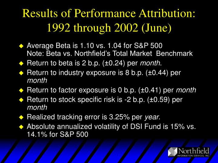 Results of Performance Attribution: