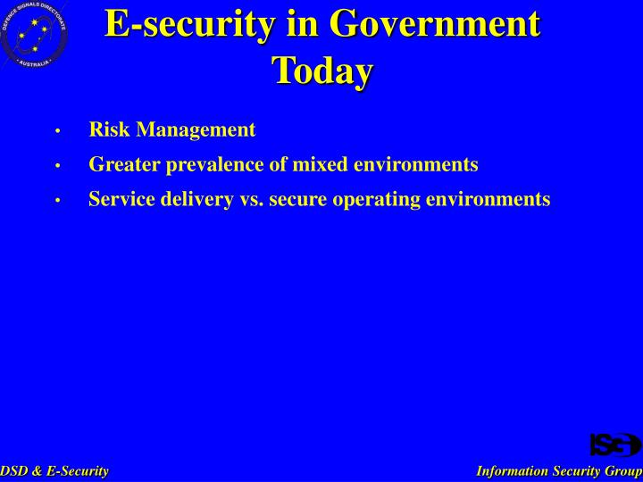 E security in government today