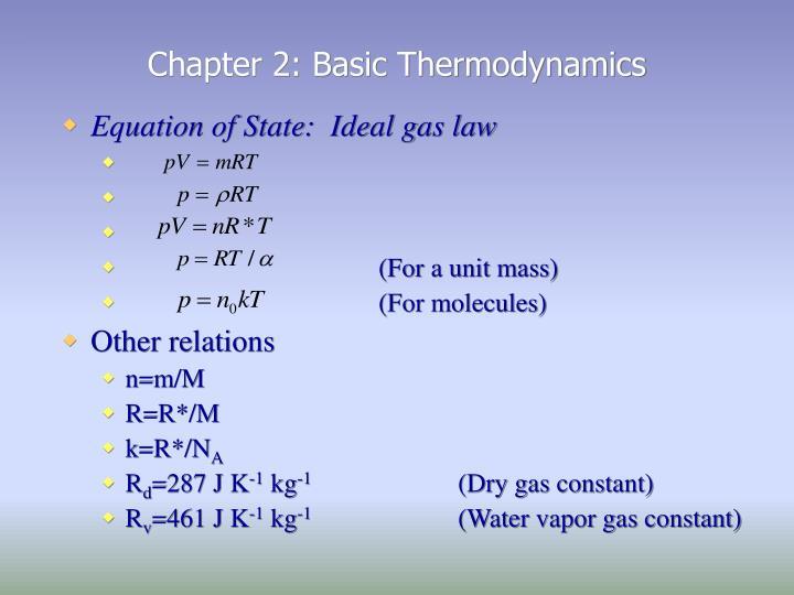 Chapter 2: Basic Thermodynamics