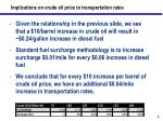implications on crude oil price to transportation rates