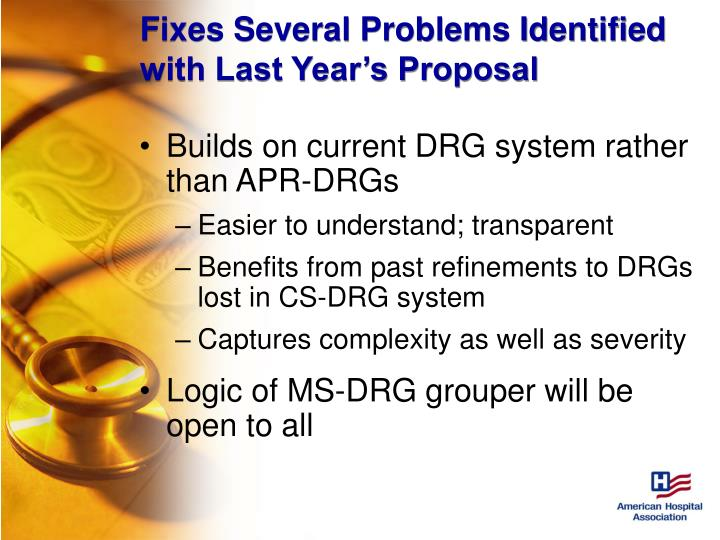 Fixes Several Problems Identified with Last Year's Proposal