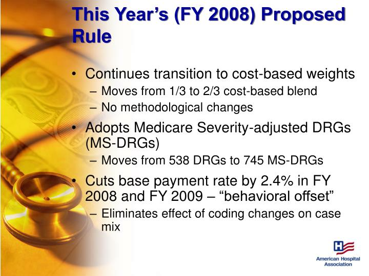 This Year's (FY 2008) Proposed Rule