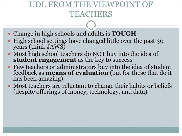 UDL FROM THE VIEWPOINT OF TEACHERS