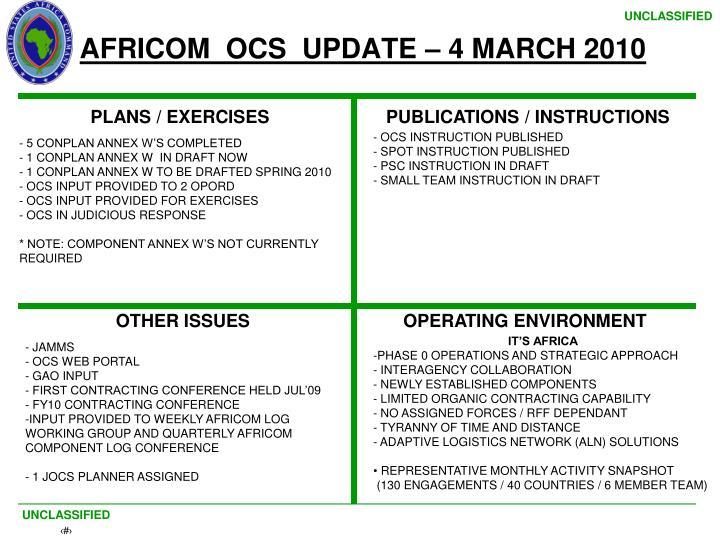 AFRICOM  OCS  UPDATE – 4 MARCH 2010