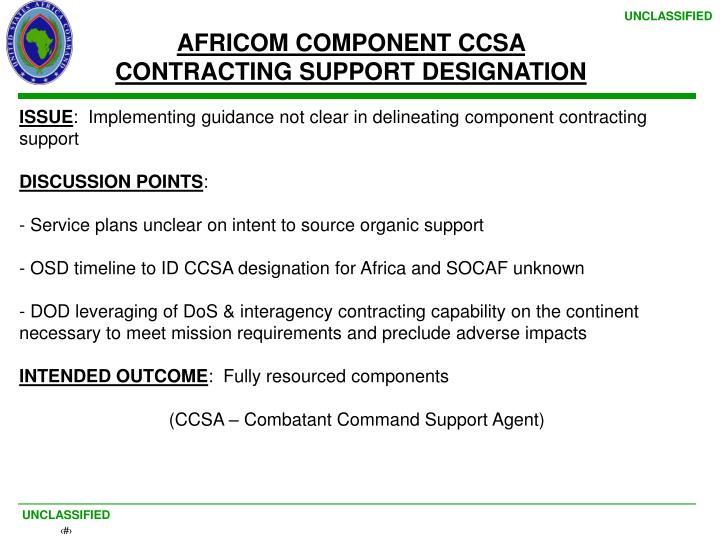 AFRICOM COMPONENT CCSA