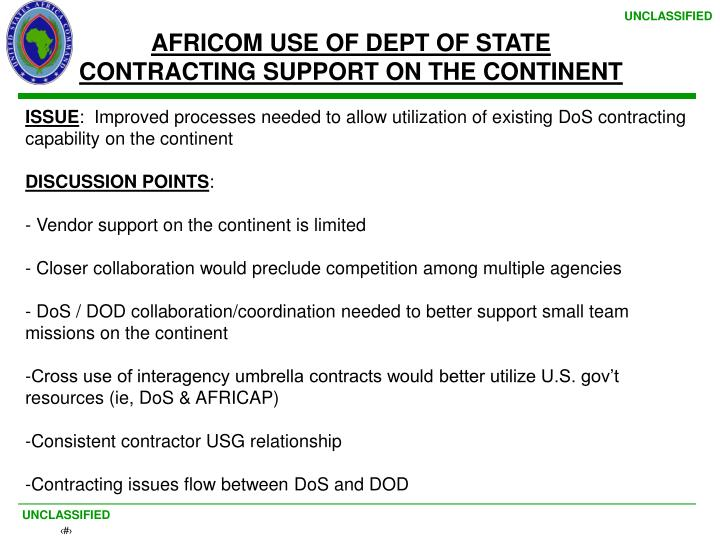AFRICOM USE OF DEPT OF STATE