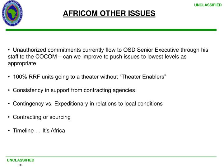 AFRICOM OTHER ISSUES