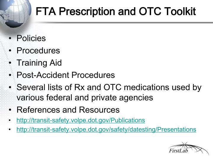 FTA Prescription and OTC Toolkit