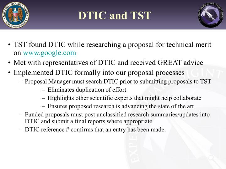 DTIC and TST