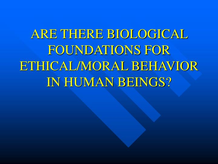 ARE THERE BIOLOGICAL FOUNDATIONS FOR ETHICAL/MORAL BEHAVIOR IN HUMAN BEINGS?