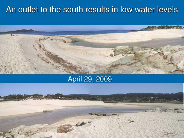 An outlet to the south results in low water levels