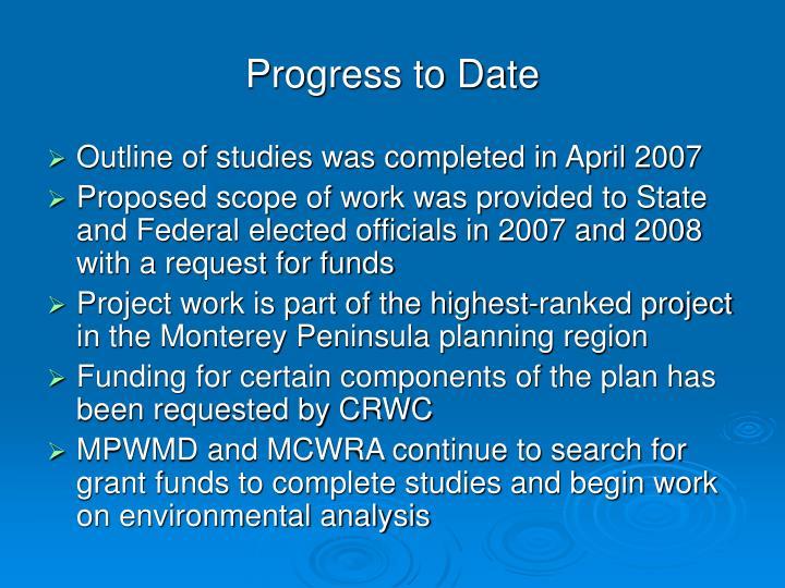 Progress to Date