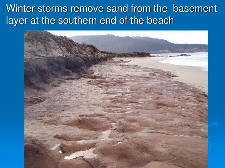 Winter storms remove sand from the  basement layer at the southern end of the beach
