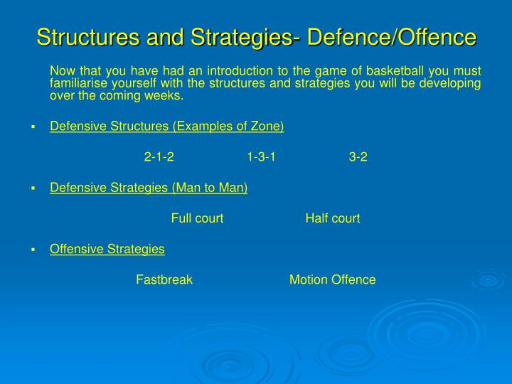 Structures and Strategies- Defence/Offence
