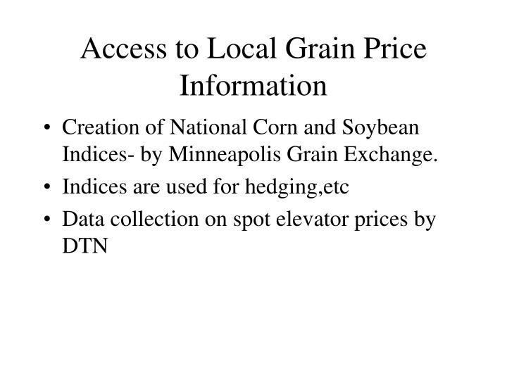 Access to Local Grain Price Information