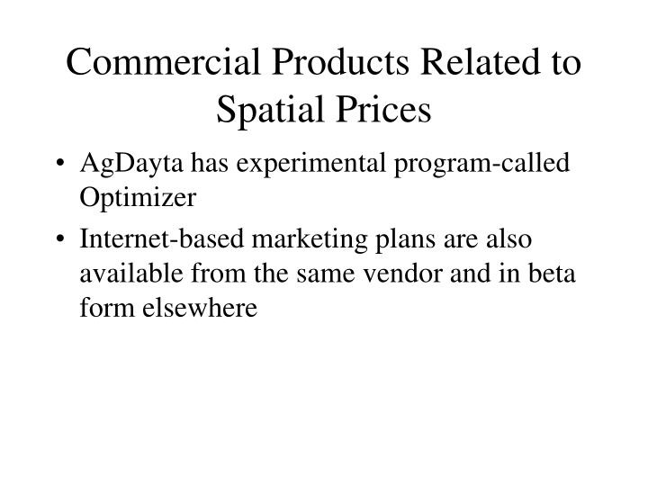 Commercial Products Related to Spatial Prices