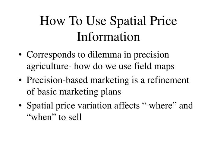 How To Use Spatial Price Information