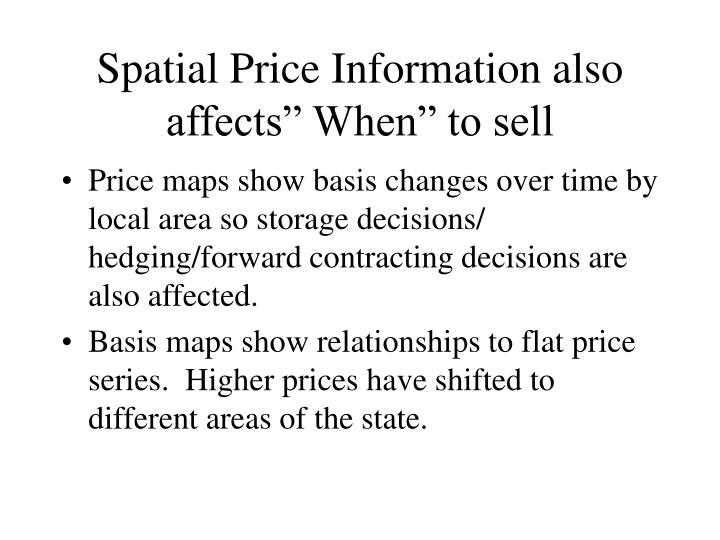 "Spatial Price Information also affects"" When"" to sell"