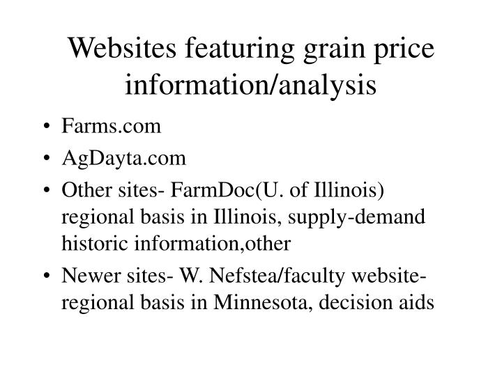 Websites featuring grain price information/analysis