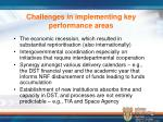 challenges in implementing key performance areas