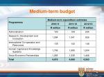 medium term budget