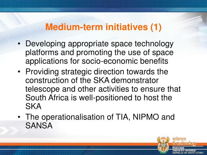 Medium-term initiatives (1)