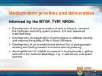 medium term priorities and deliverables