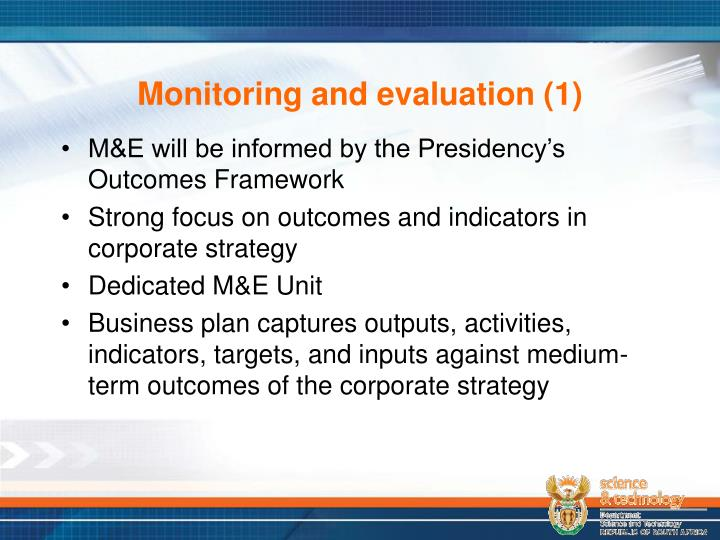 Monitoring and evaluation (1)