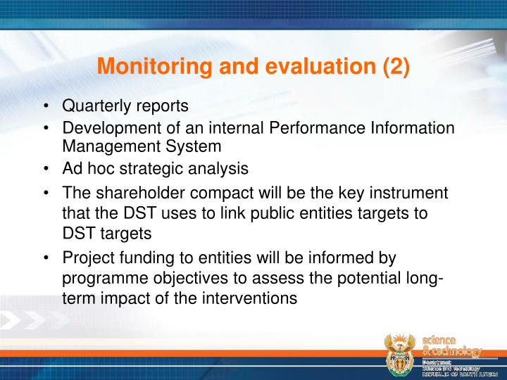 Monitoring and evaluation (2)