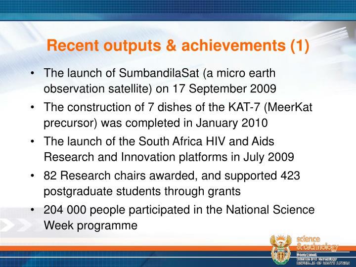 Recent outputs & achievements (1)