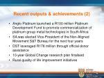 recent outputs achievements 2