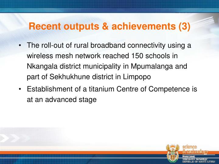 Recent outputs & achievements (3)