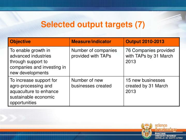 Selected output targets (7)