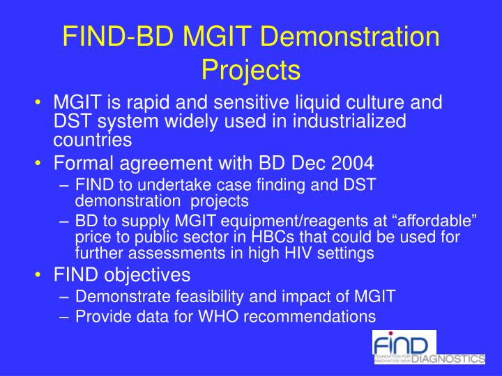 FIND-BD MGIT Demonstration Projects
