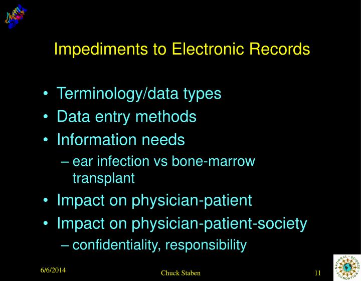 Impediments to Electronic Records