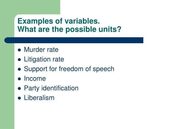 Examples of variables.