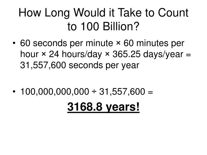 How Long Would it Take to Count to 100 Billion?