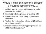 would it help or hinder the effect of a neurotransmitter if you