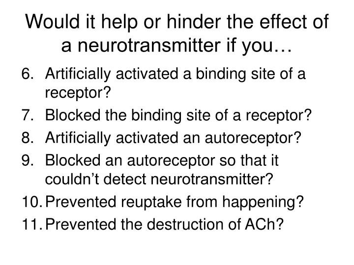 Would it help or hinder the effect of a neurotransmitter if you…