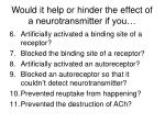 would it help or hinder the effect of a neurotransmitter if you1