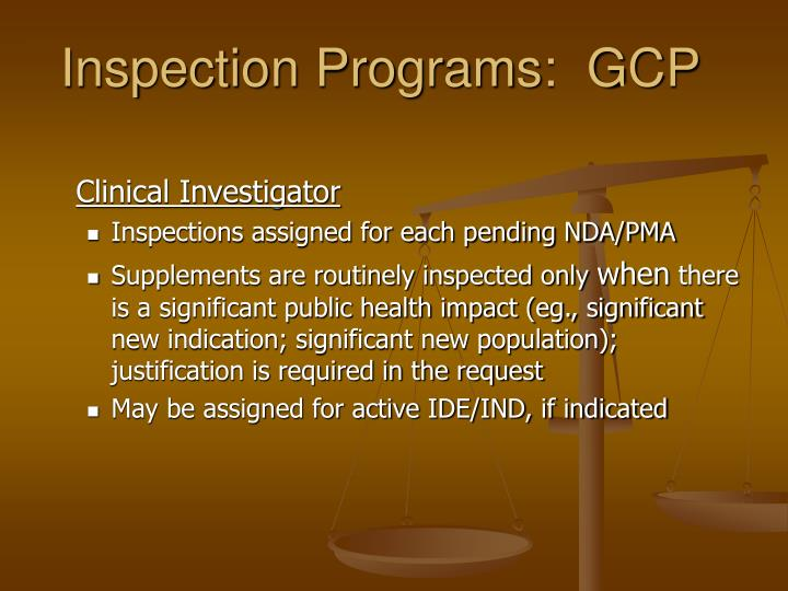 Inspection Programs:  GCP
