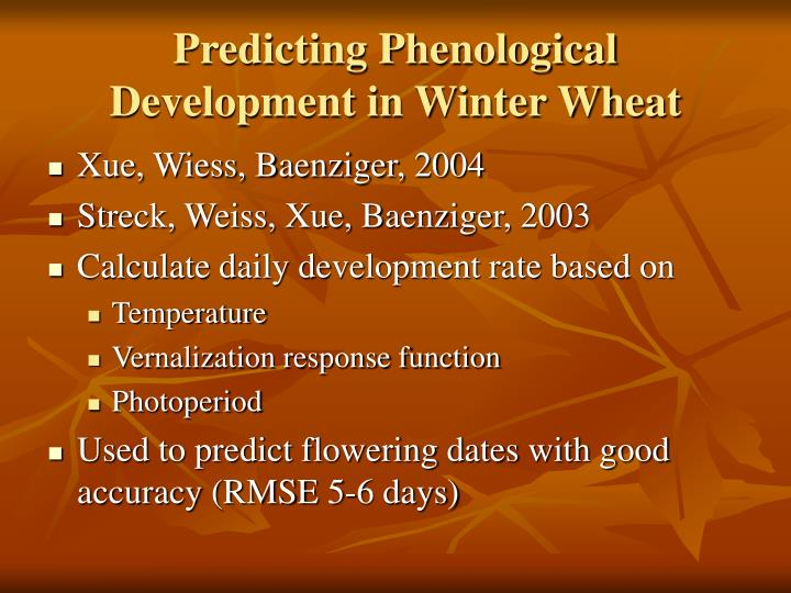 Predicting Phenological Development in Winter Wheat