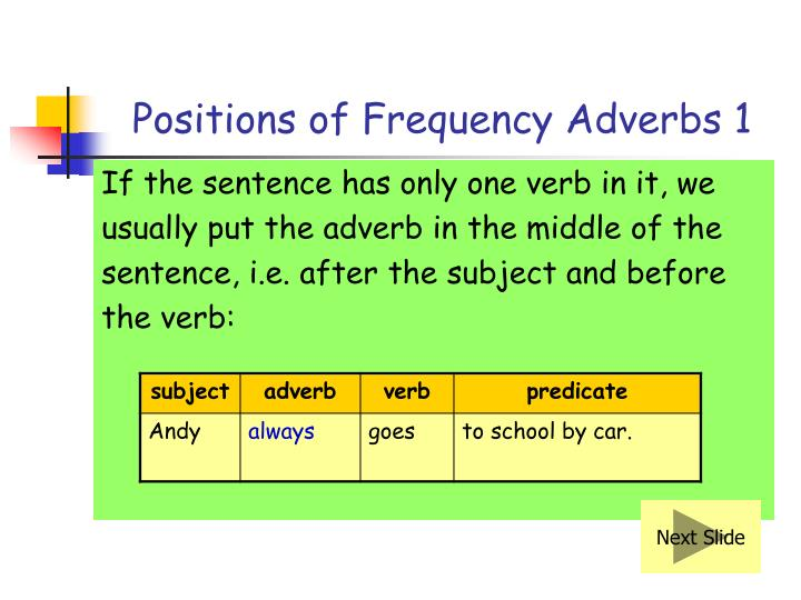Positions of Frequency Adverbs 1
