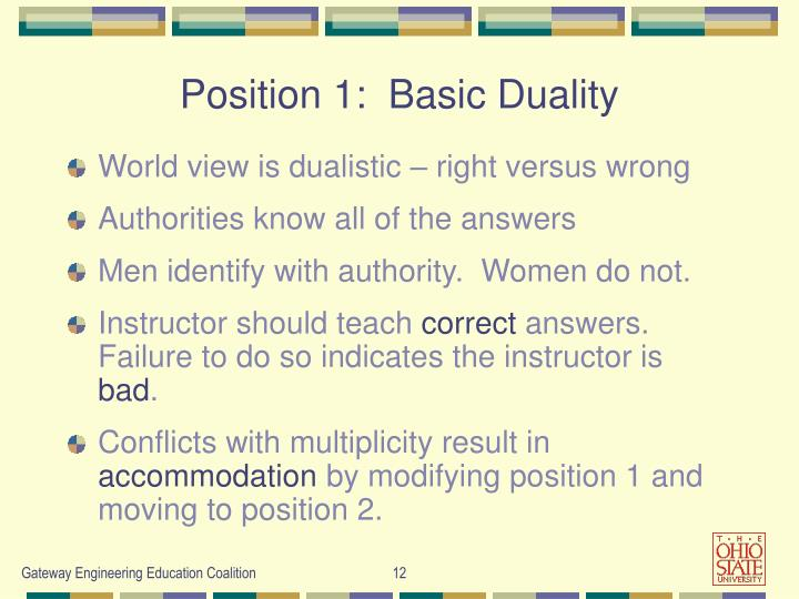 Position 1:  Basic Duality