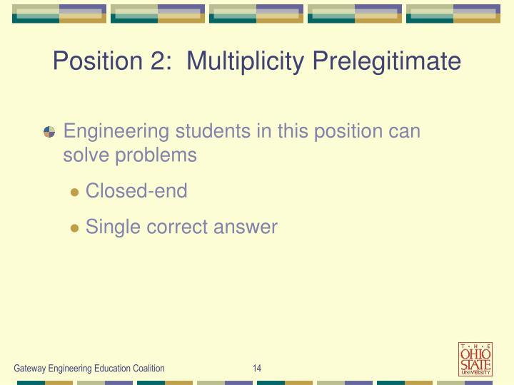 Position 2:  Multiplicity Prelegitimate
