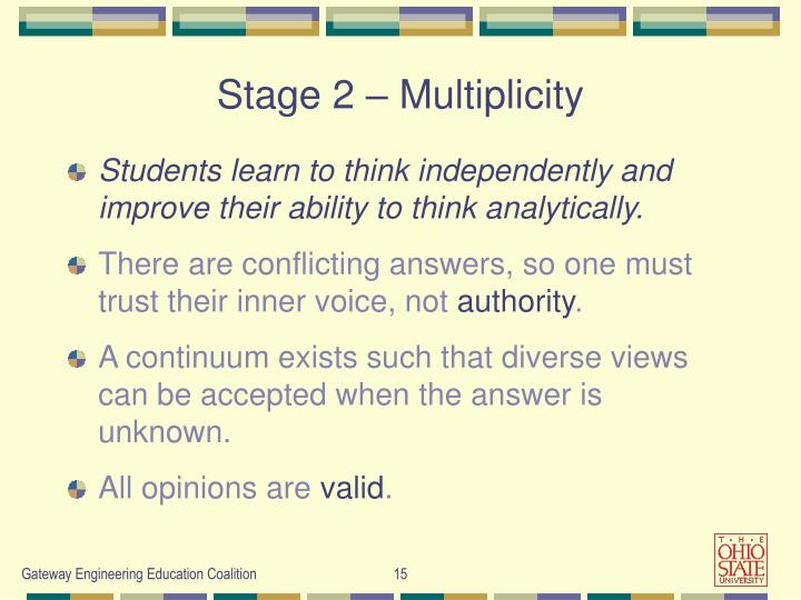 Stage 2 – Multiplicity