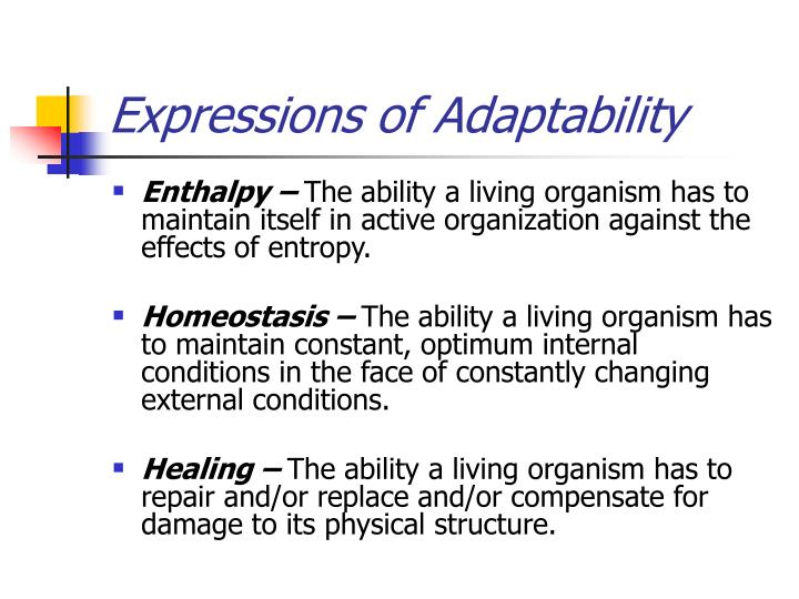 Expressions of Adaptability