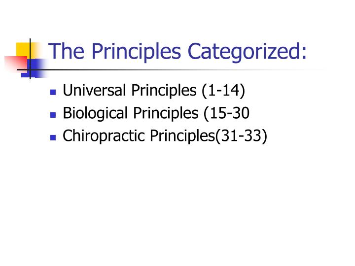 The Principles Categorized:
